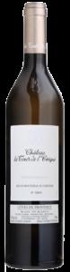 dark bottle with white label and black letter of tour de l'evêque, organic white wine of château la tour de l'evêque vineyard in Frence