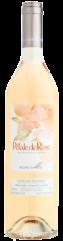a pink wine bottle with silver cap of le pétale de rose, organic rosé wine of château la tour de l'evêque vineyard, france